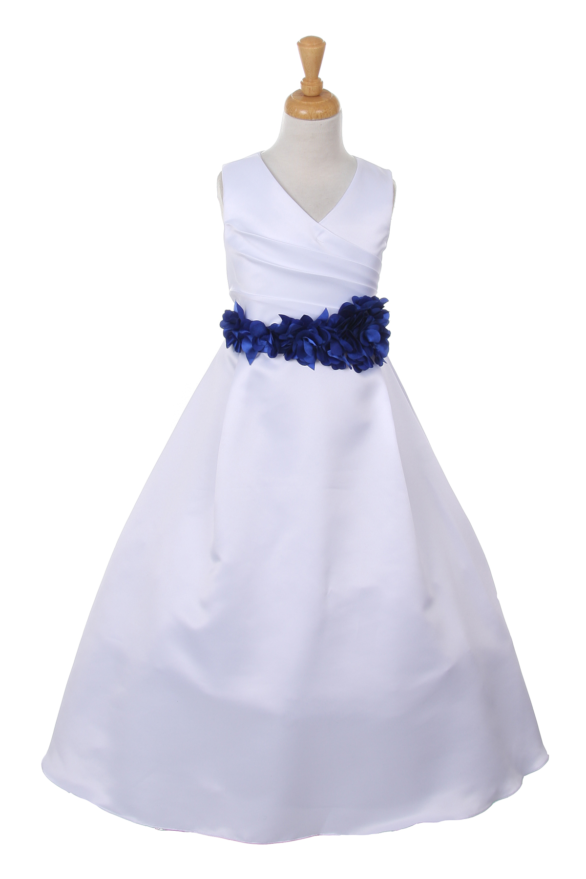 white dress with royal blue flower sash