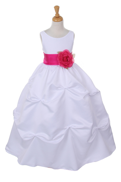 white flower girl dress with fuchsia