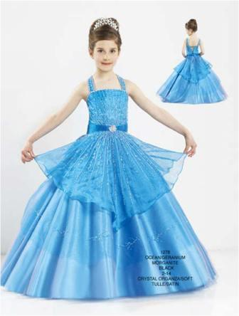 Blue beaded taffeta pageant ball gown