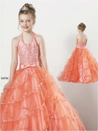 little girls orange pageant gown
