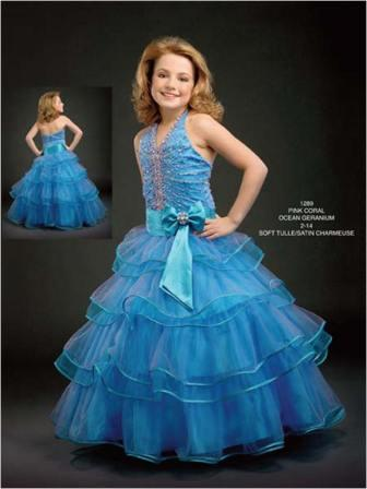 Girls beaded halter pageant dress