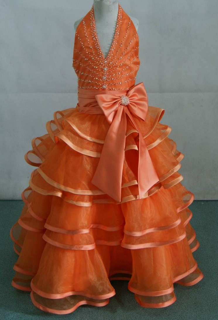 orange halter long dress for a girl pageant gown