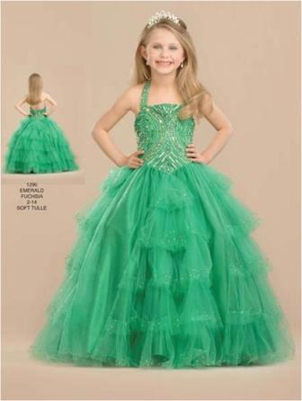 Girls tiered halter pageant dress