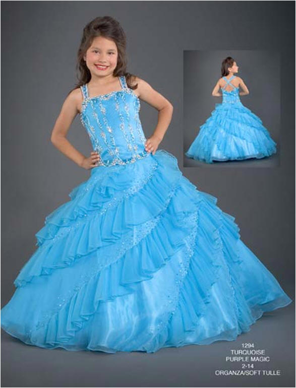 blue satin pageant dress with ruffled skirt