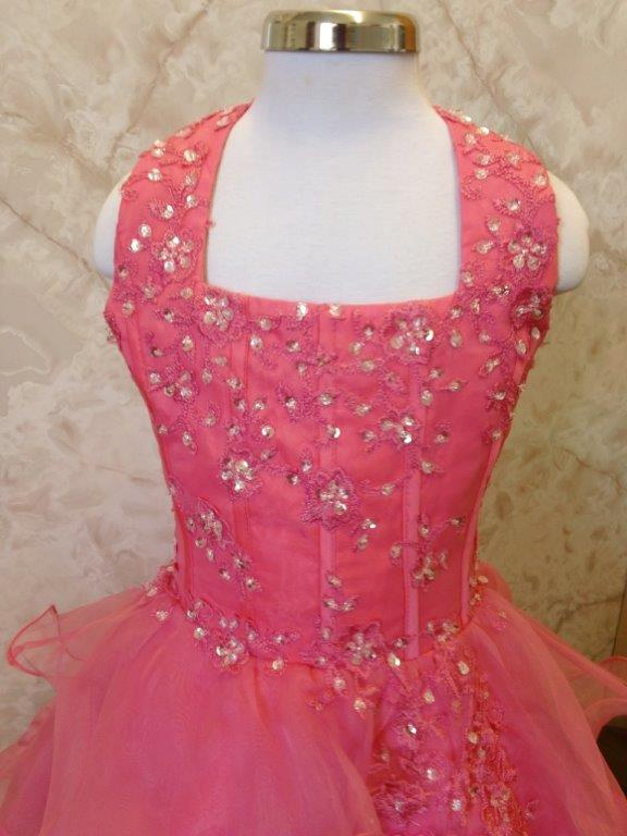 Begonia pink halter pageant gown with clear beading