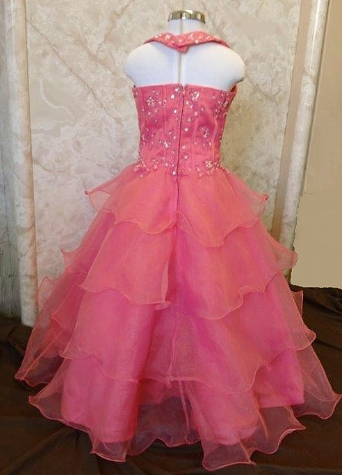 tiered organza pageant gown