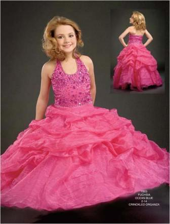crinkled organza pageant gown