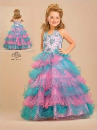 Pageant dresses for little girls with multi colored layered skirt