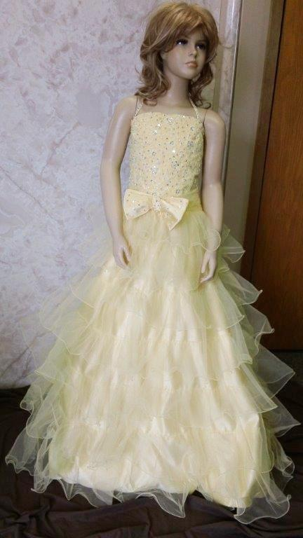 girls yellow pageant gowns