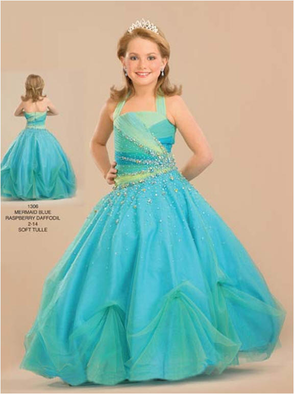 Two tone girls pageant dress