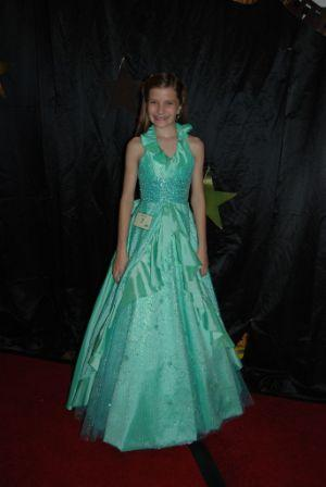 green and blue girls pageant dress
