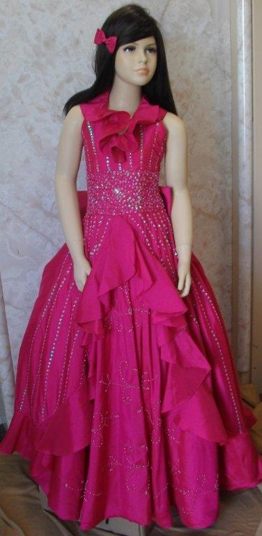 taffeta beaded halter neckline pageant dress