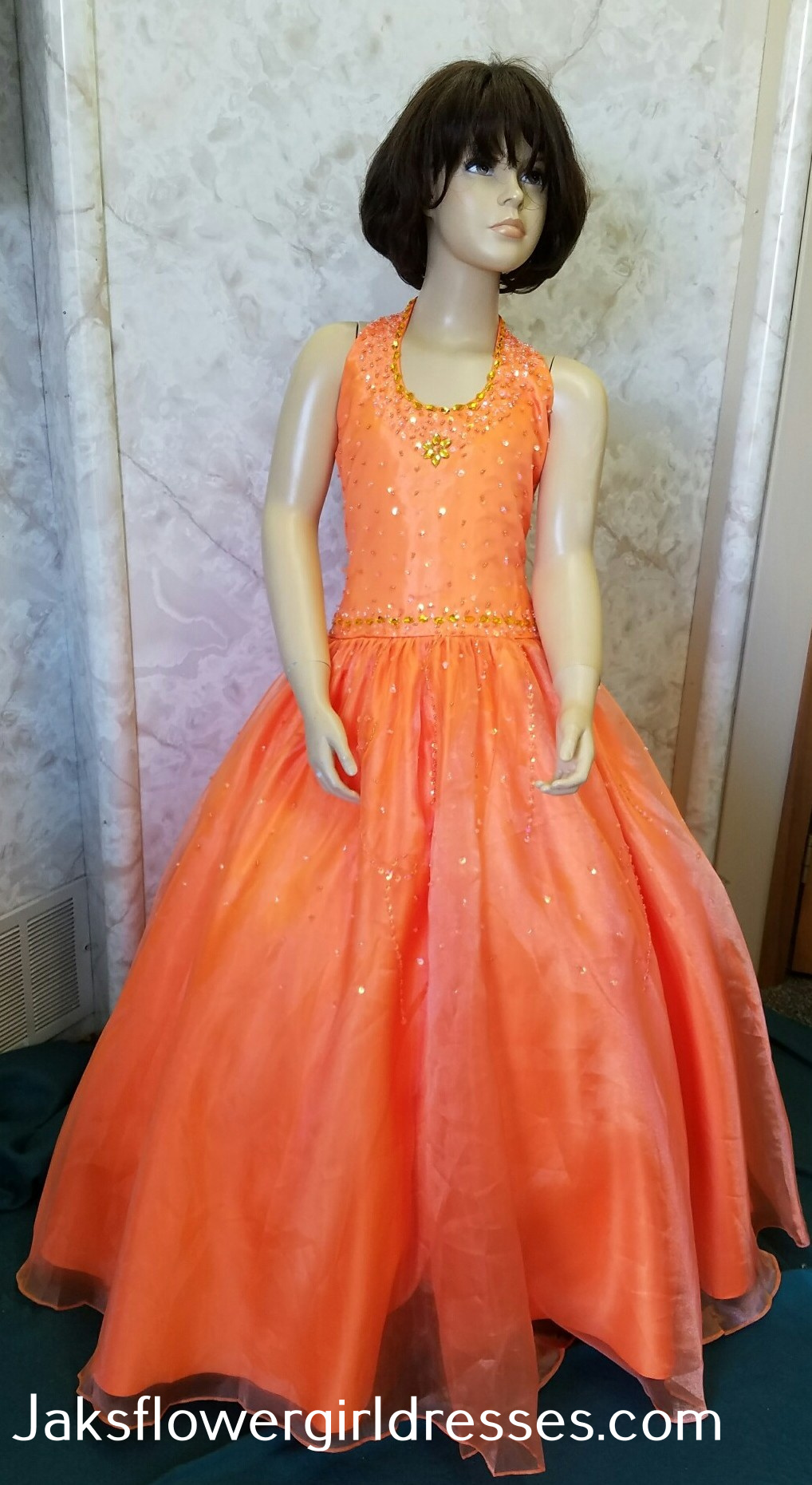 orange pageant dresses for girls