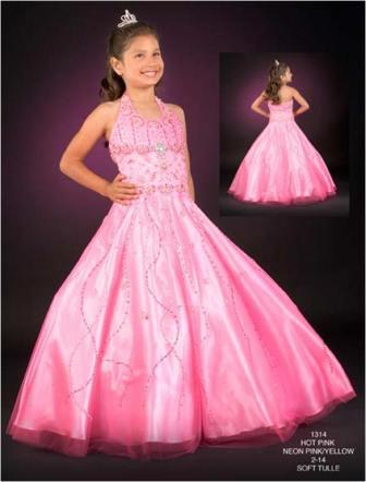 girls halter pageant gown