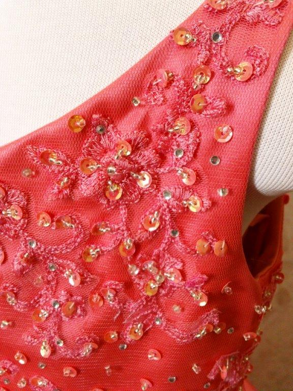 coral pageant dresses with embroiderey and beading