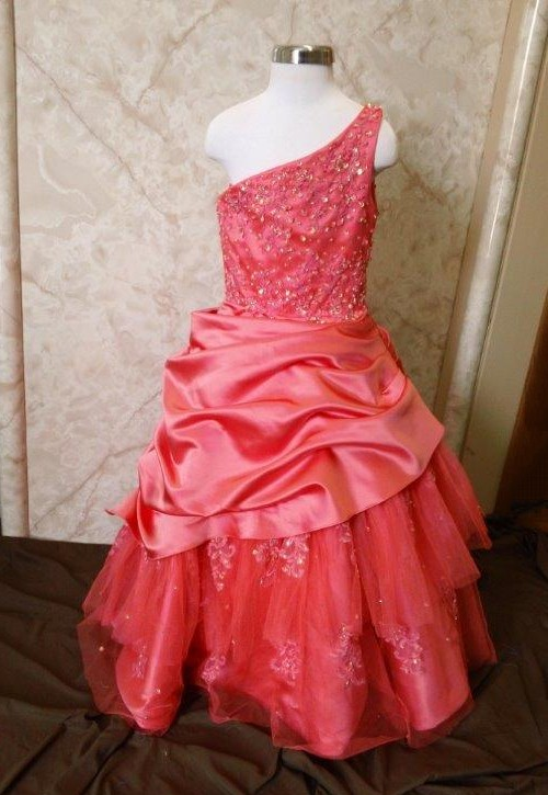 girls coral pageant dress