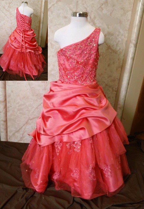 girls coral one shoulder pageant dress