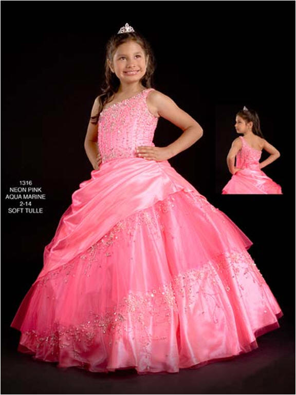 watermelon one shoulder pageant dress