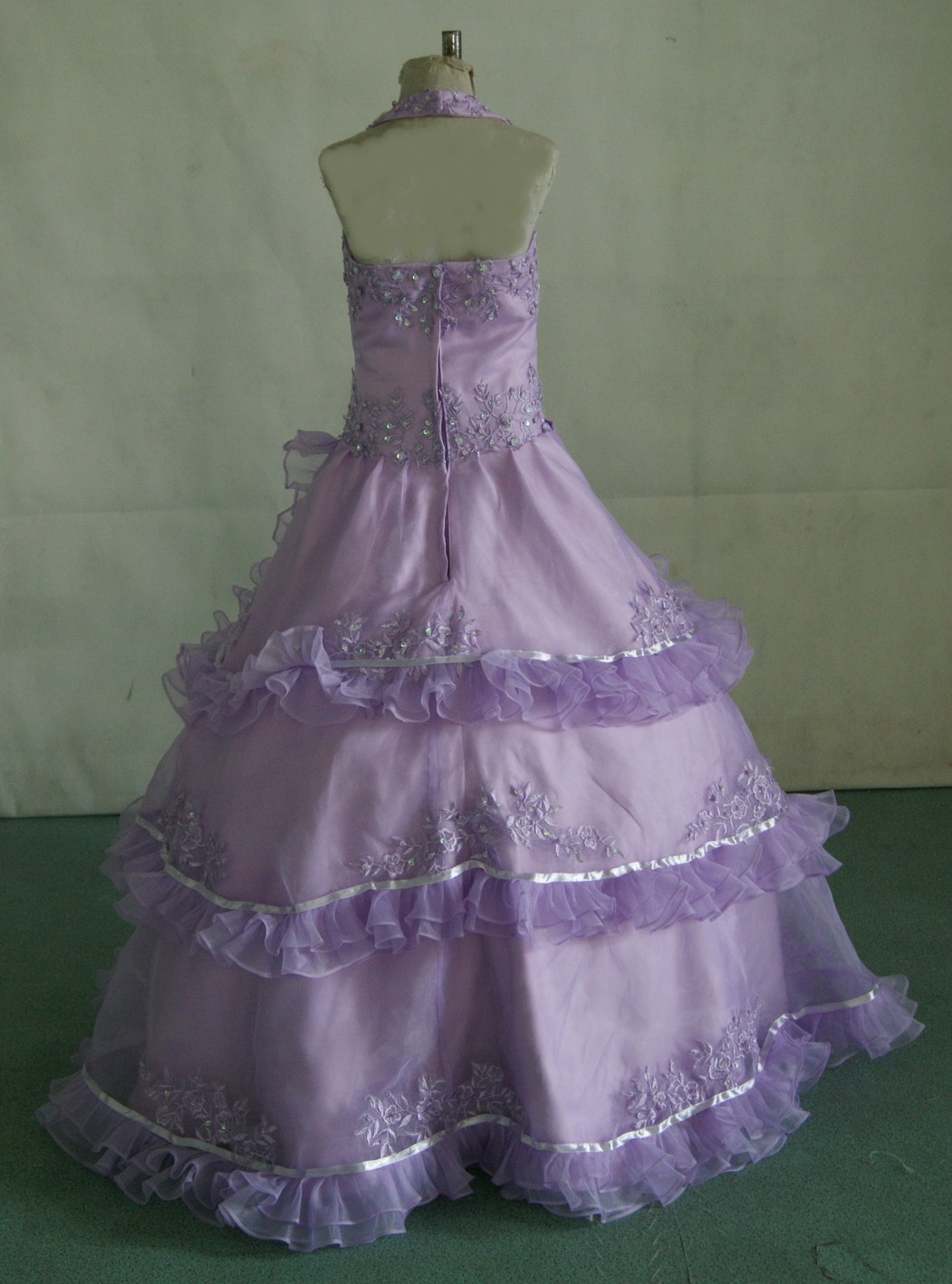 Lilac halter pageant dress with layered ruffles,