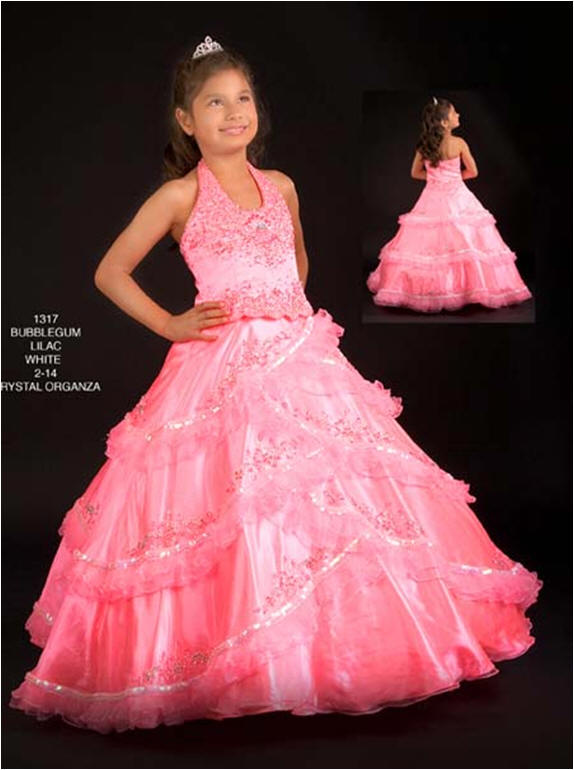 pink sequin ball gown