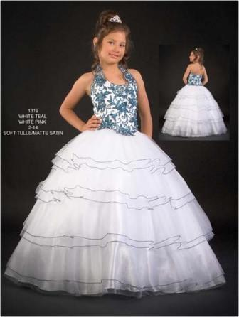 Halter beaded girls national pageant ball gown