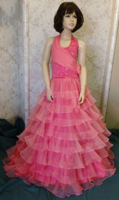 girls long coral pageant dress