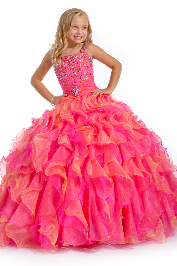 Two Tone Ruffled Skirt Pageant Dress