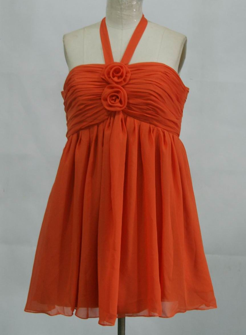 orange chiffon knee length halter dress