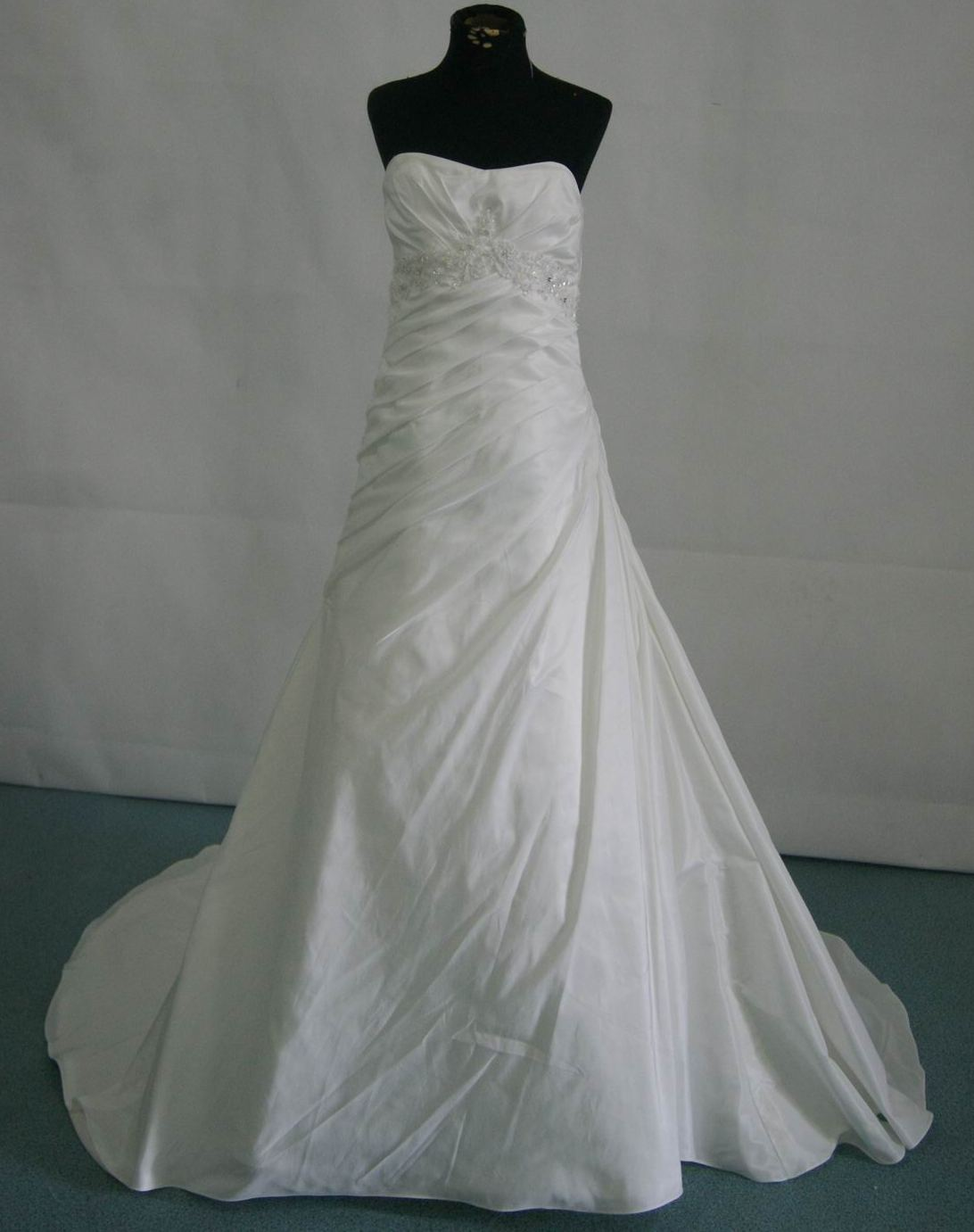 A-Line Strapless Empire Waist Pleated Long Satin Flower Girl Wedding Dress