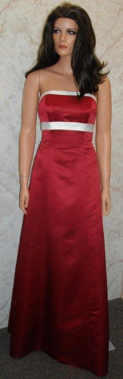 apple red bridesmaid dress with light ivory sash