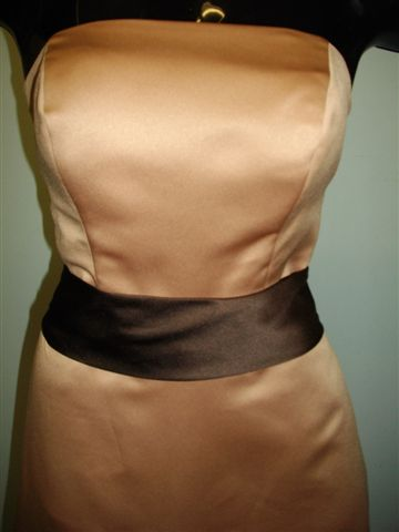Bridesmaid Gown shown in Antique Brass with Chocolate Sash