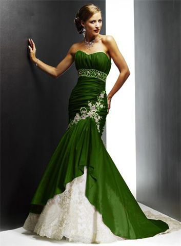 green strapless mermaid prom dress