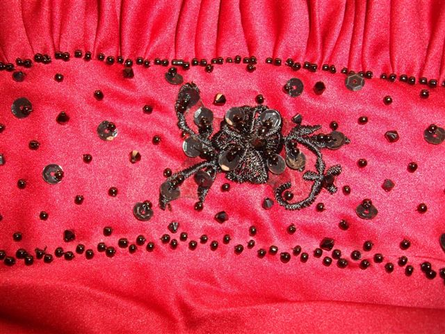 Red gown with black beading