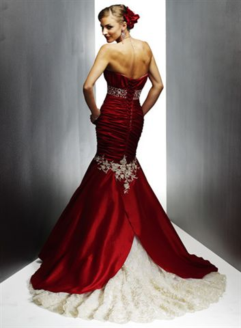 red corset ball gown