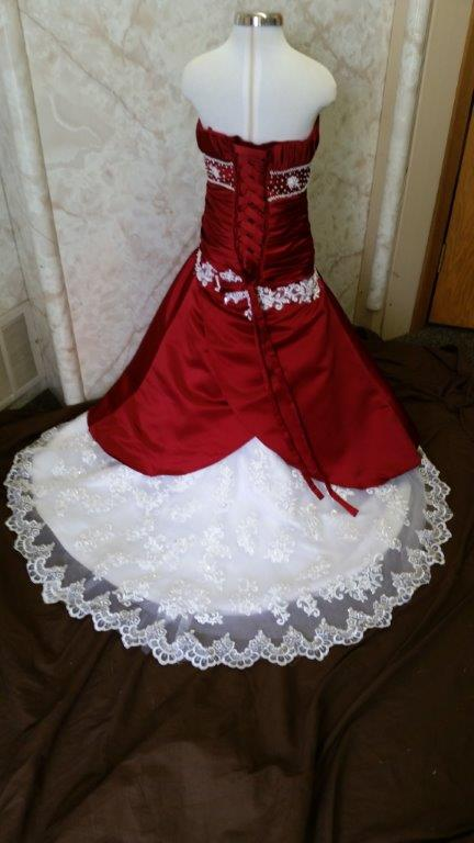 apple red and white flower girl dress