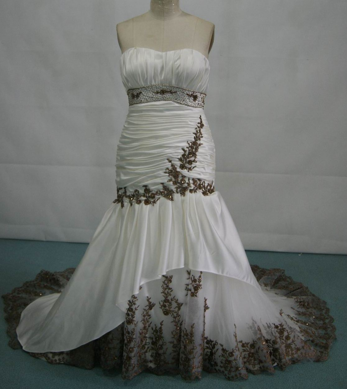 Ivory and Chocolate Strapless Ballroom Dresses