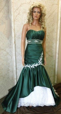 green and white wedding gown