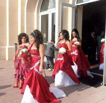 red and white bridesmaid gowns