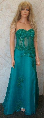 teal corset a line gown