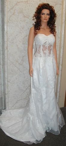 white see through corset gown