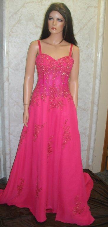 cerise long prom gown
