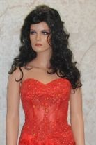 red prom dress with see through corset