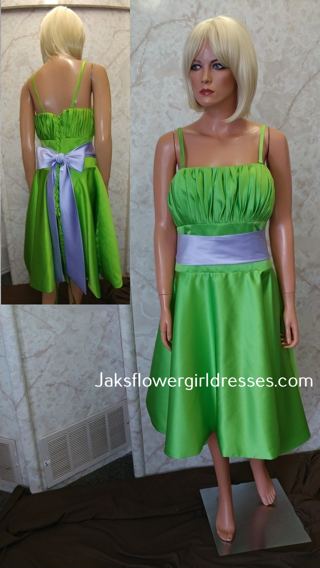 lime green dress with lilac sash