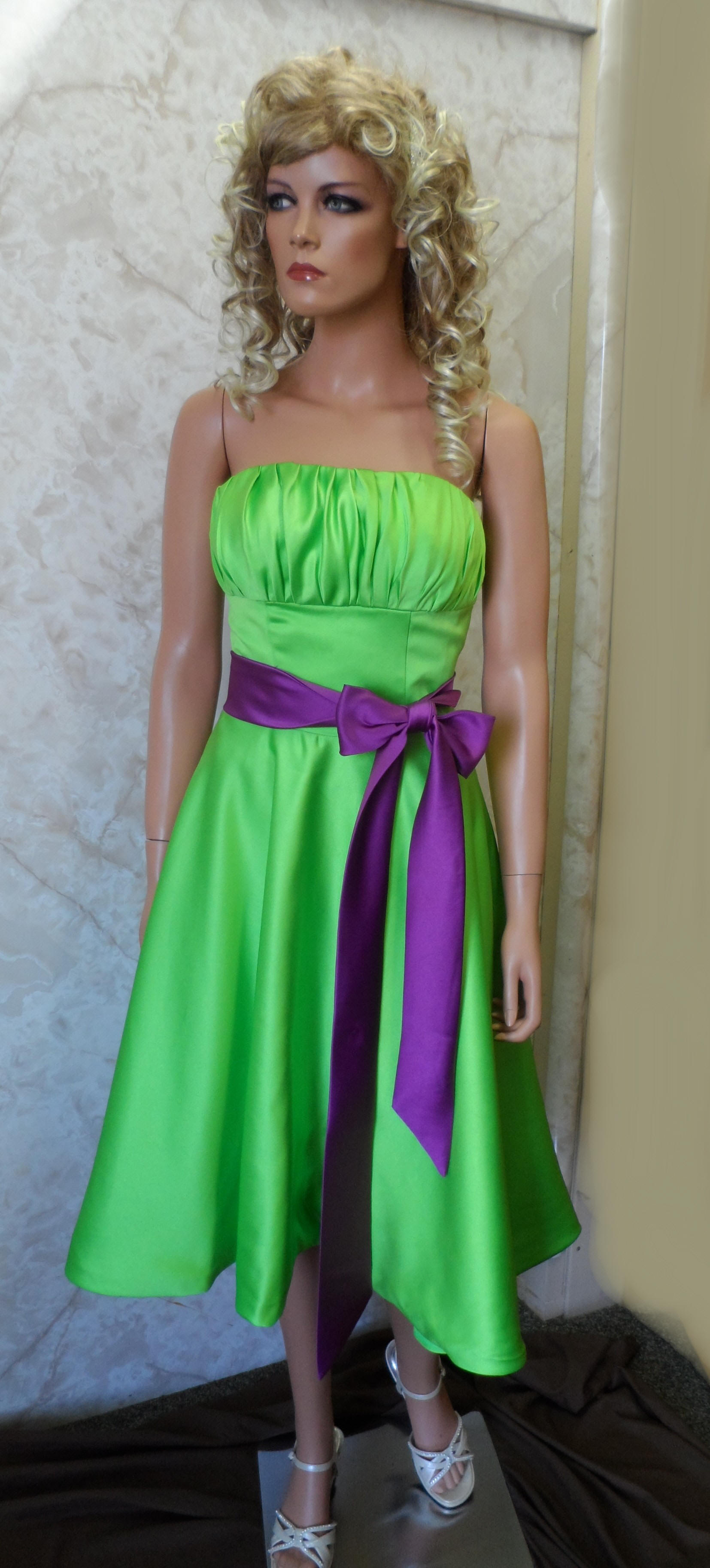 Lime green strapless dress with purple sash