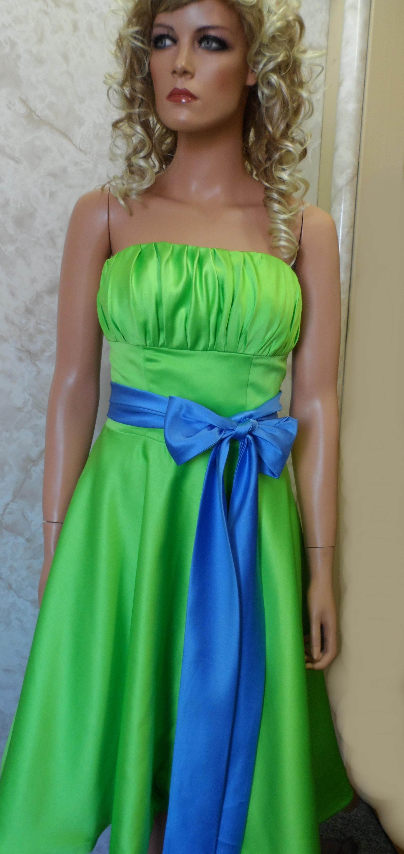 Lime green strapless dress with blue sash