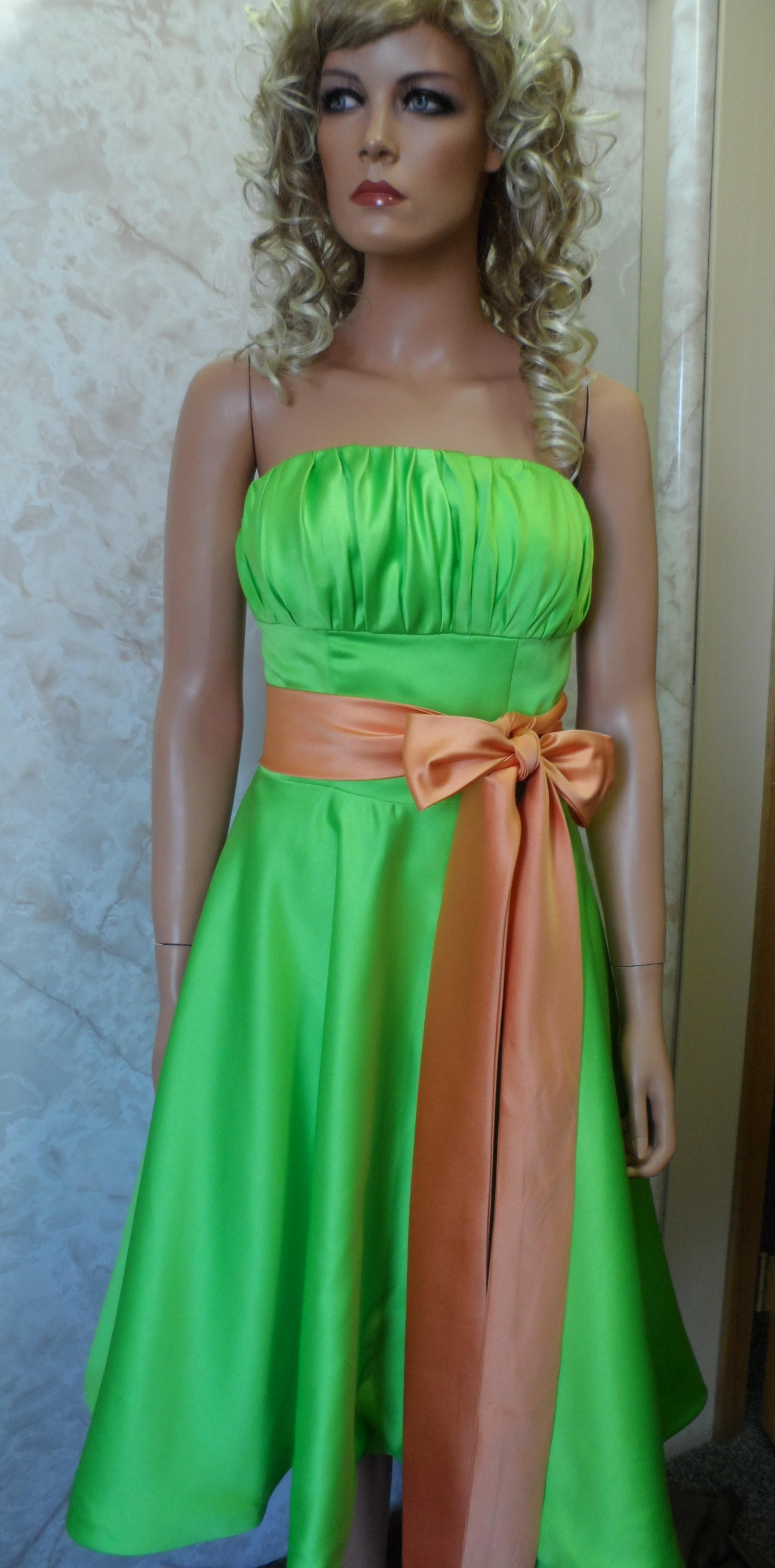 Lime green strapless dress with pumpkin sash