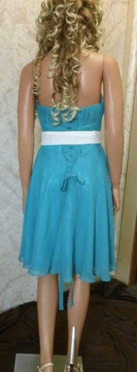 blue dress with ivory sash