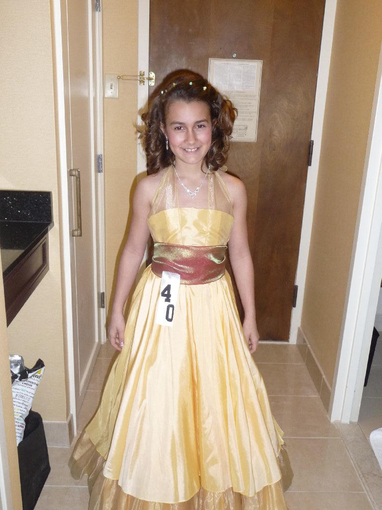 yellow and chocolate pageant dress