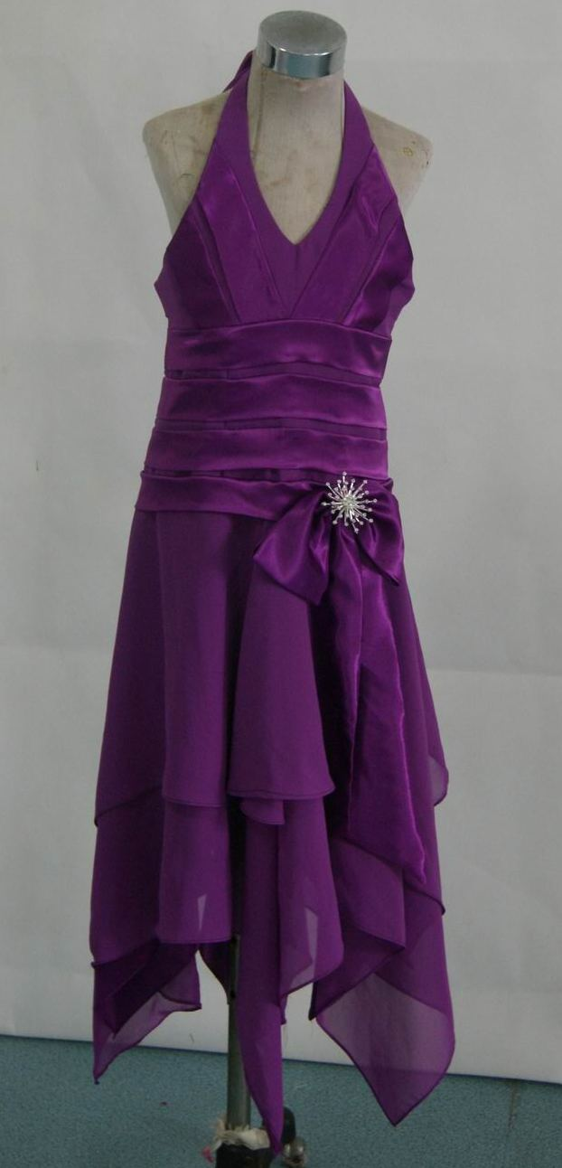 purple halter dress with handkerchief hem