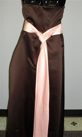Chocolate Brown Gown with sweet pea Pink sash